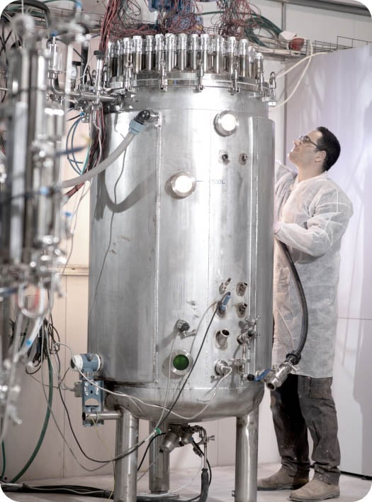 Brevel's technology - researcher working with bioreactors