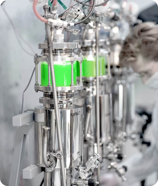 Brevel's Research and Development technology - researcher working with lab scale bioreactors